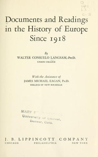 Download Documents and readings in the history of Europe since 1918