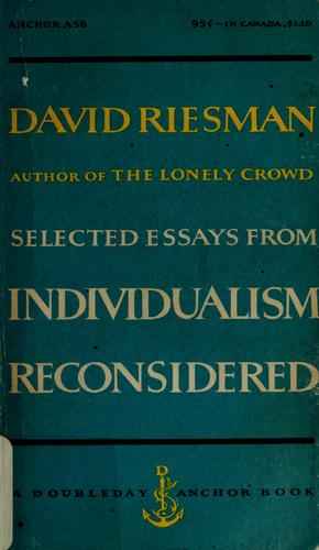 Individualism reconsidered, and other essays.