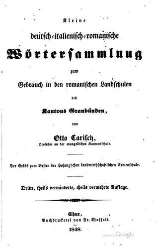 Kleine deutsch-italienisch-romanische Wörtersammlung