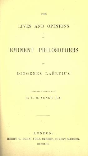 Download The  lives and opinions of eminent philosophers