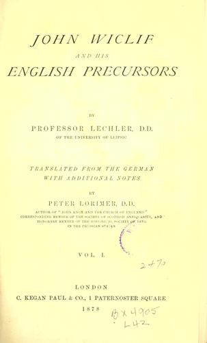 Download John Wiclif and his English precursors