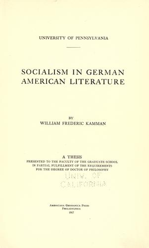 Download Socialism in German American literature