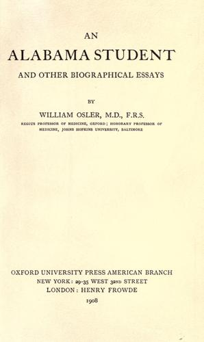 Download An Alabama student and other biographical essays