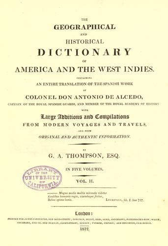 The geographical and historical dictionary of America and the West Indies.