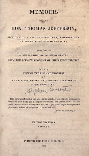 Download Memoirs of the Hon. Thomas Jefferson, Secretary of State, Vice-President, and President of the United states of America