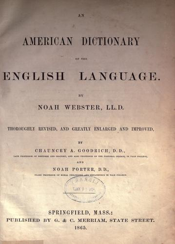 An American dictionary of the English language.