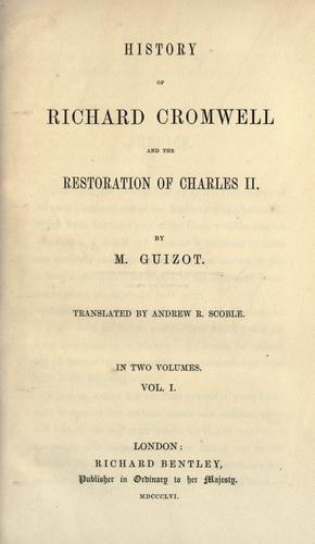 Oliver Cromwell and the Restoration of the.
