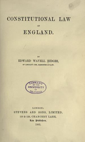 Download Constitutional law of England