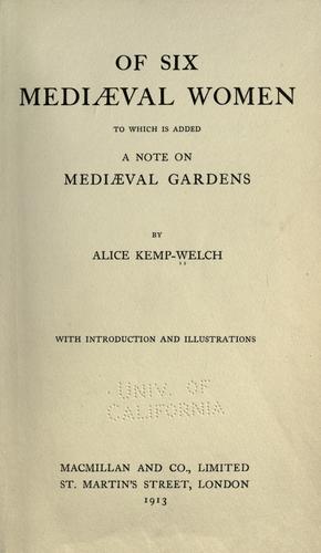 Download Of six mediaeval women