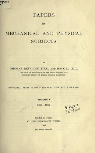 Papers on mechanical and physical subjects.