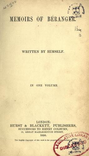 Download Memoirs of Béranger