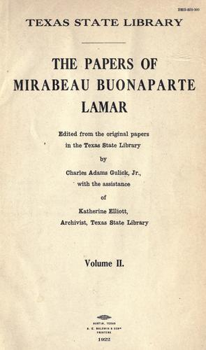 Download The papers of Mirabeau Buonaparte Lamar