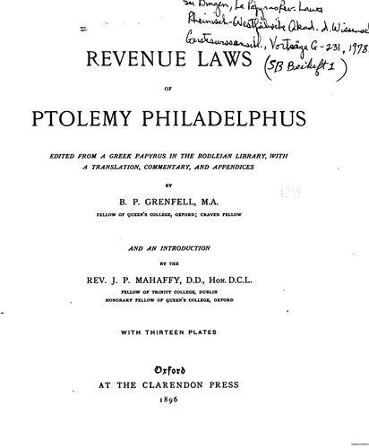Download Revenue laws of Ptolemy Philadelphus