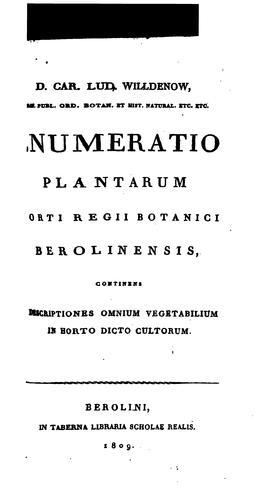Download Enumeratio plantarum Horti Regii Botanici Berolinensis