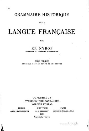 Grammaire historique de la langue française