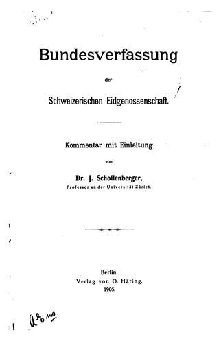 Download Bundesverfassung der Schweizerischen Eidgenossenschaft.