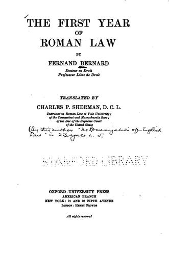 Download The first year of Roman law