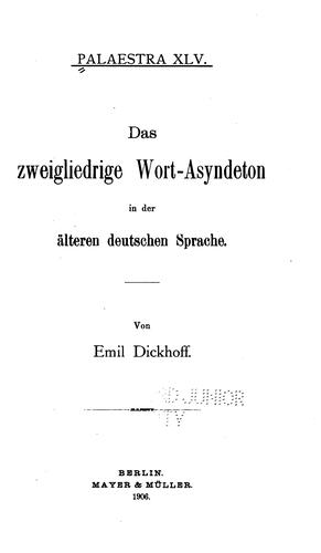 Download Das zweigliedrige Wort-Asyndeton in der älteren deutschen Sprache.