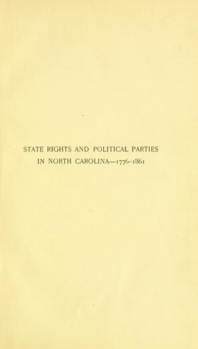 Download State rights and political parties in North Carolina–1776-1861