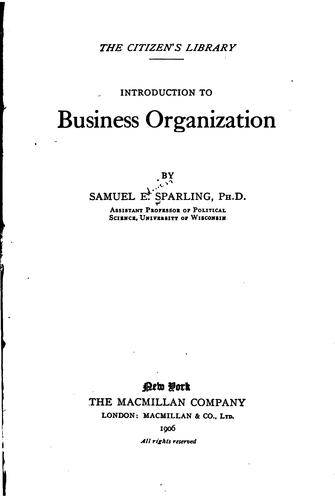 …Introduction to business organization