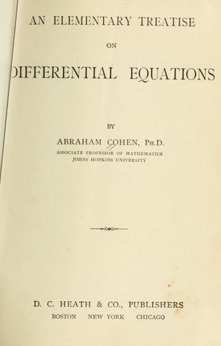 Download An elementary treatise on differential equations