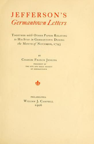 Jefferson's Germantown letters