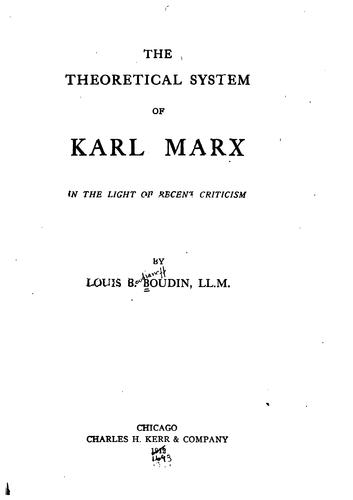 Download The theoretical system of Karl Marx in the light of recent criticism