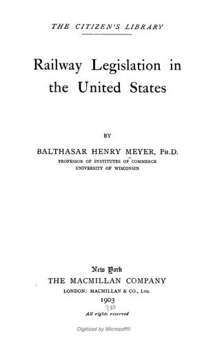 Download Railway legislation in the United States