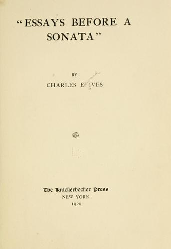 "Download ""Essays before a sonata"""