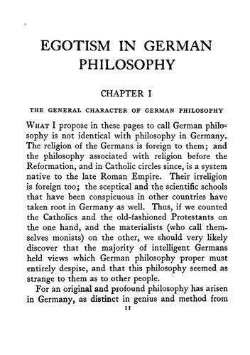 Egotism in German philosophy.