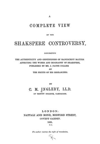A complete view of the Shakspere controversy
