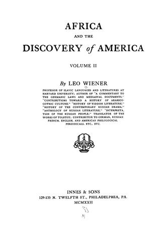 Download Africa and the discovery of America.