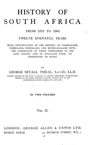Download History of South Africa from 1873 to 1884
