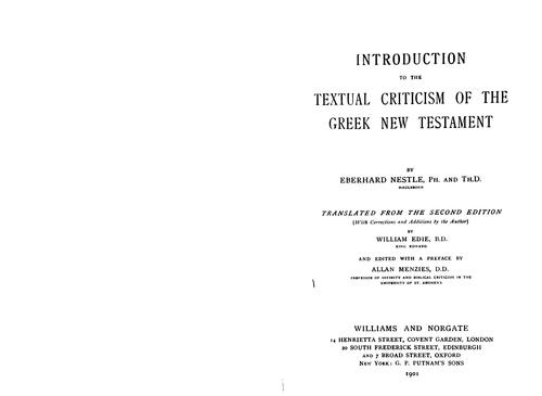 Download Introduction to the textual criticism of the Greek New Testament