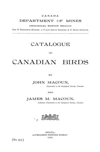 Download Catalogue of Canadian birds