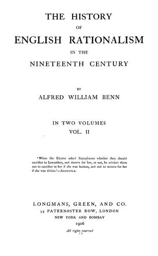 The history of English rationalism in the nineteenth century
