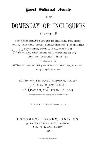 Download The domesday of inclosures, 1517-1518