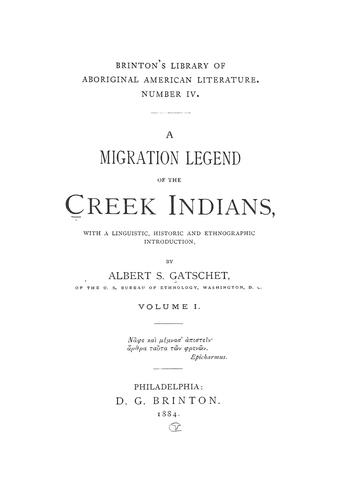 A migration legend of the Creek Indians