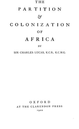 The partition & colonization of Africa