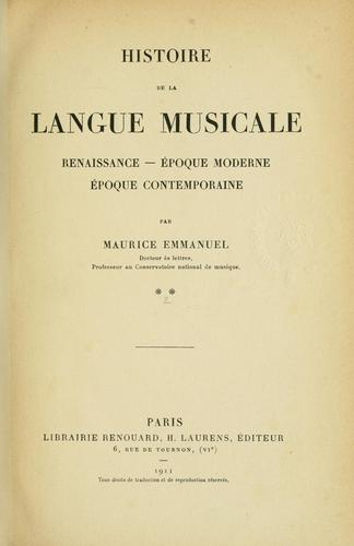 Download Histoire de la langue musicale