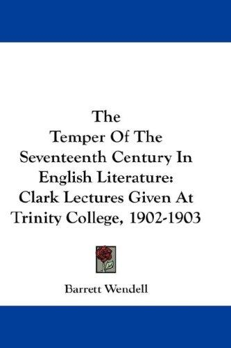 Download The Temper Of The Seventeenth Century In English Literature