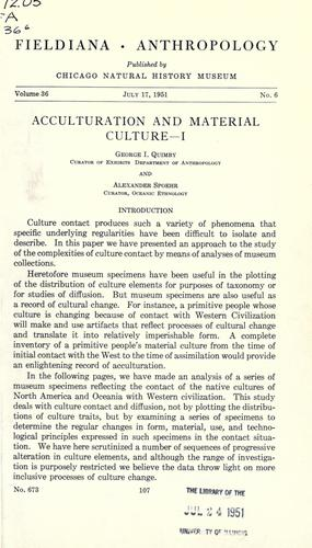 Acculturation and material culture –