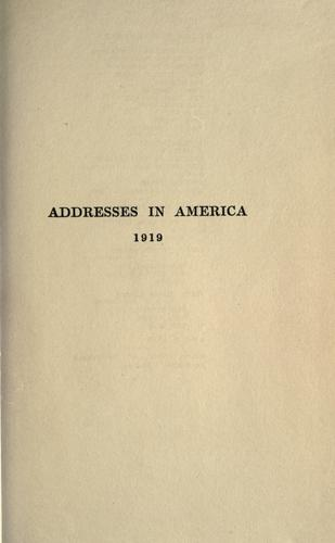 Download Addresses in America, 1919.