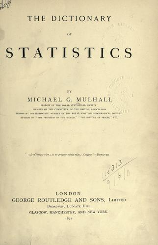 The dictionary of statistics.
