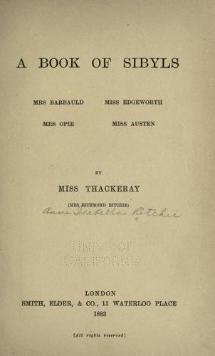 A book of sibyls – Mrs. Barbauld, Miss Edgeworth, Mrs. Opie, Miss Austen.