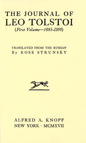 Download The journal of Leo Tolstoi …