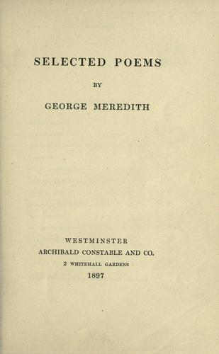 Download Selected poems of George Meredith.