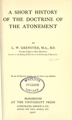 Download A short history of the doctrine of the Atonement