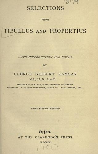 Selections from Tibullus and Propertius