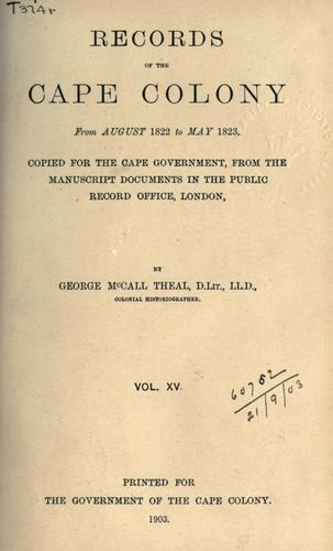 Download Records of the Cape Colony 1793-1831 copied for the Cape government